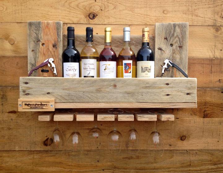 Estante para Vino hecho con palieres de madera