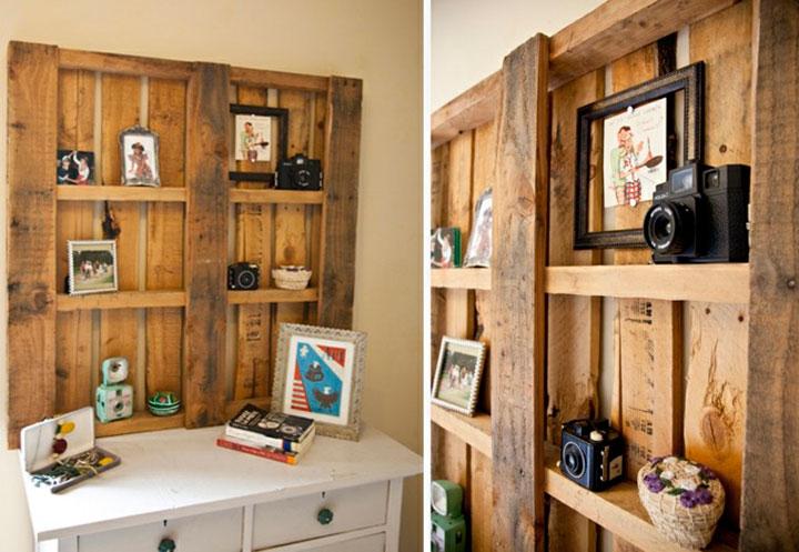 Estanterías hechas con pales de madera vintage