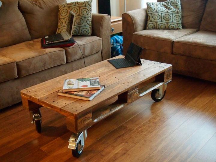 Mesa de centro con palets de madera para el salón