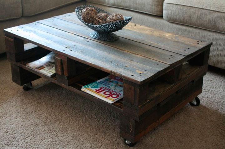 Mesa para el salón con palets estilo vintage