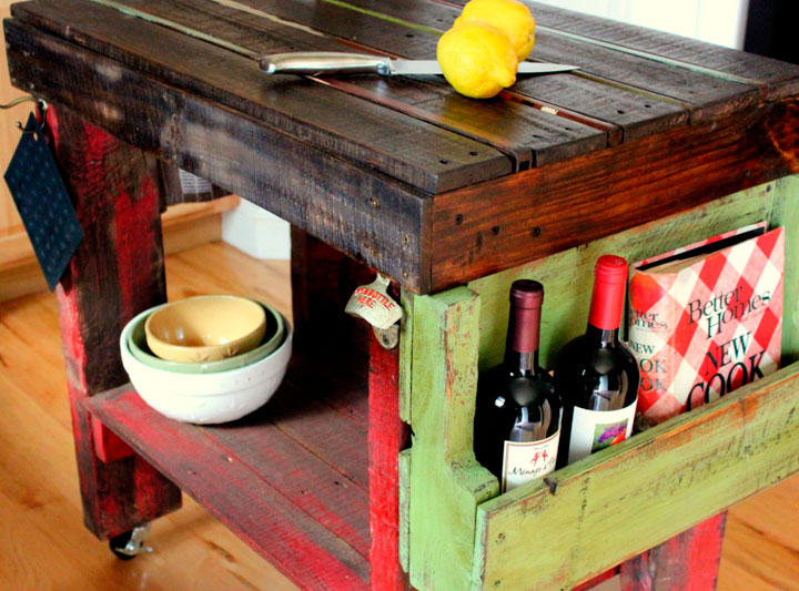 Mueble de cocina hecho con palet de madera