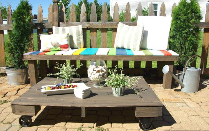 muebles de jardín con palets de madera