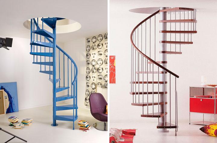 Decorar duplex con escaleras de caracol modernas