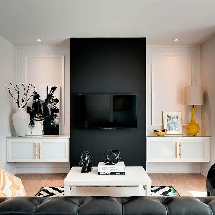 Pintar las paredes del salón en color blanco y negro