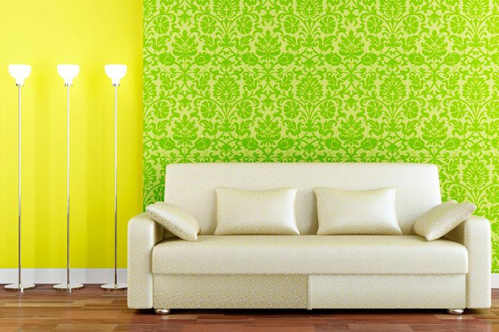 ideas para pintar un salón en verde y amarillo