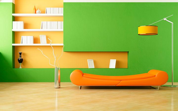 Colores para salones modernos verde y amarillo