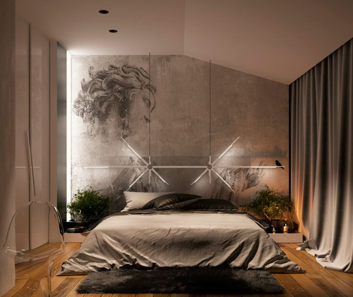 Cómo decorar con cortinas un dormitorio minimalista
