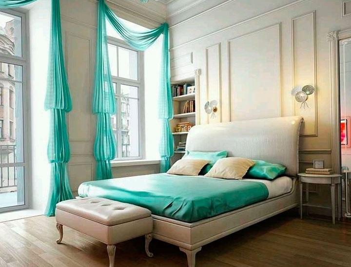 Cortinas color turquesa para dormitorio