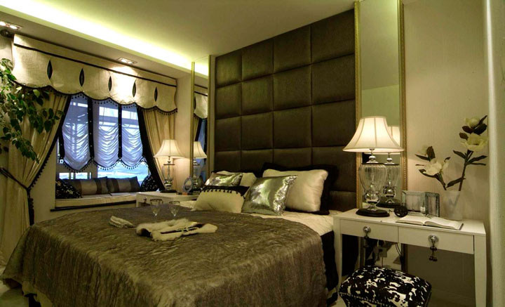 Cortinas habitación de mujer estilo romántico