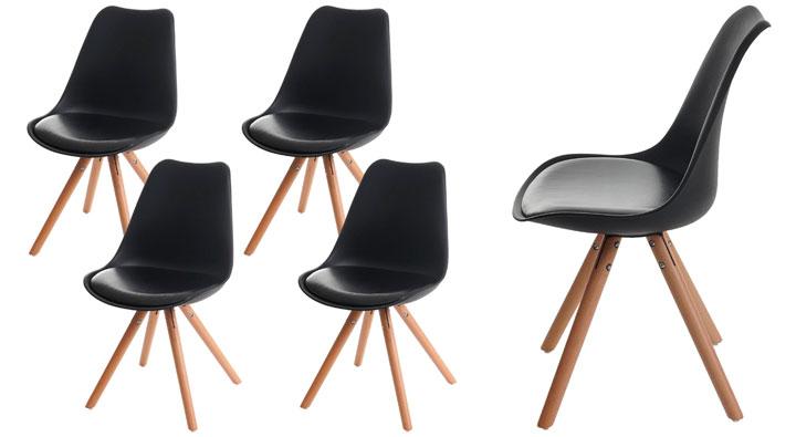 Sillas de comedor de diseño en color negro y madera
