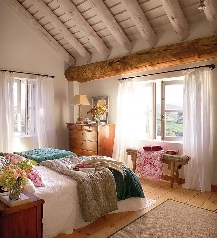 Cortinas para dormitorio rústico