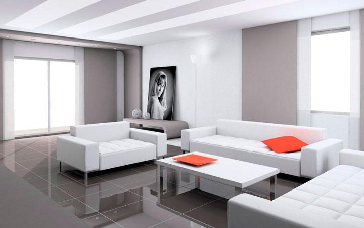 Cortinas japonesas para salón moderno minimalista