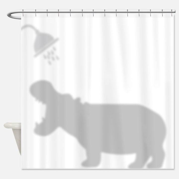 cortina divertida con sobra de hipopótamo