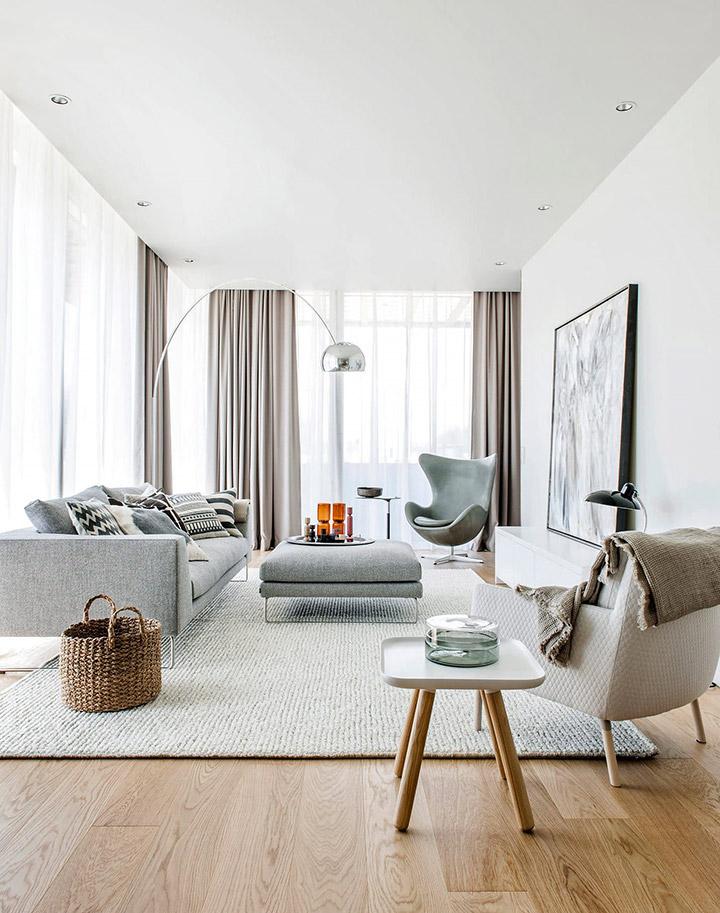 Ideas de cortinas para salón nórdico