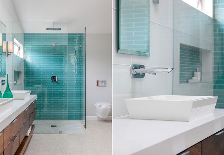 Cuartos de baño color turquesa y blanco