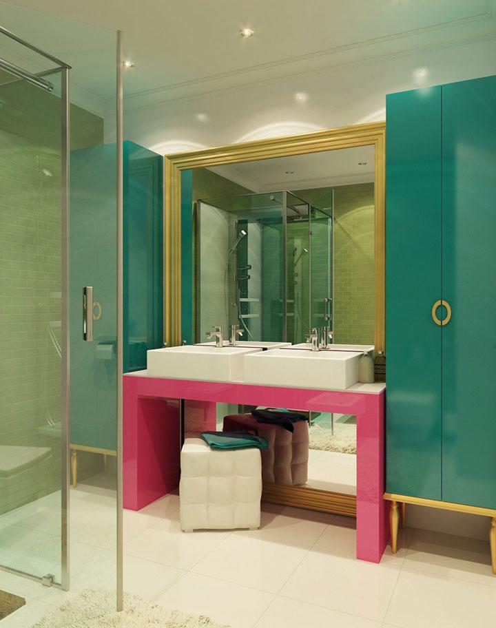 Cuarto de baño de color turquesa y rosa