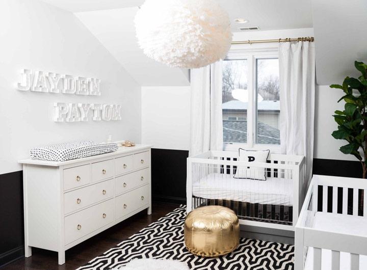 Dormitorio monocromático elegante y minimalista