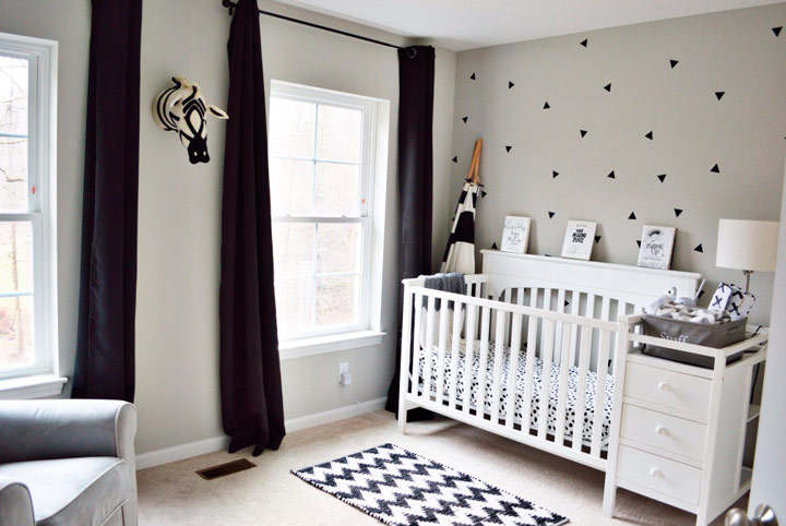 dormitorios monocromáticos infantiles paredes grises