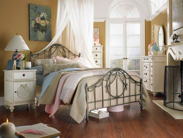 Dormitorios retro para niños con dosel