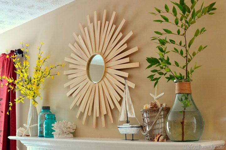Espejo de sol minimalista de madera