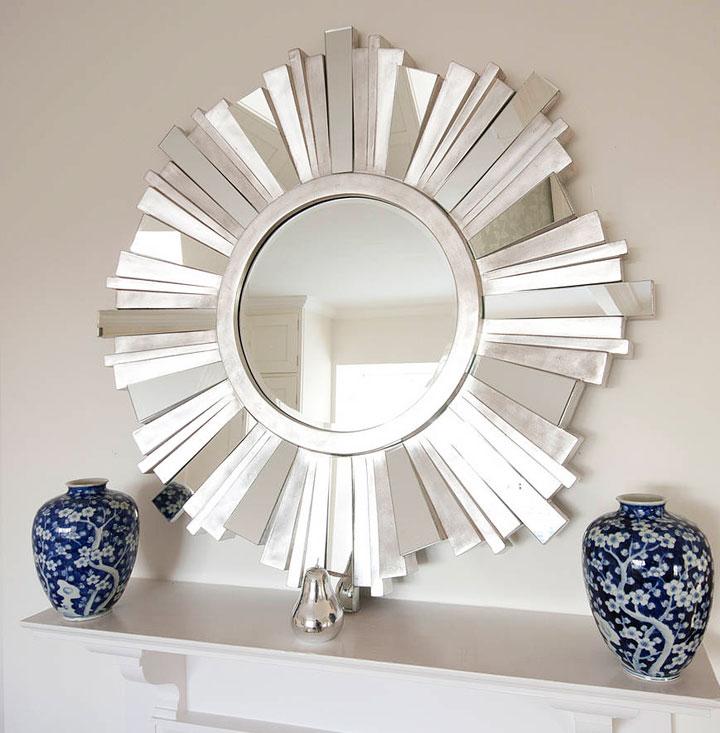 Espejos de sol plateados de metal