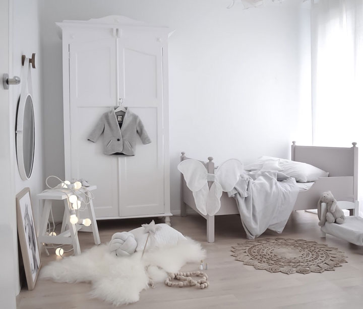 Habitación dormitorio de niños Shabby Chic minimalista