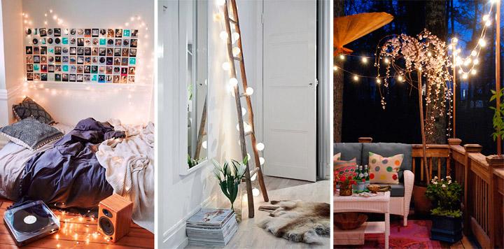 ideas con guirnaldas de luces para crear ambientes On luces de ambiente