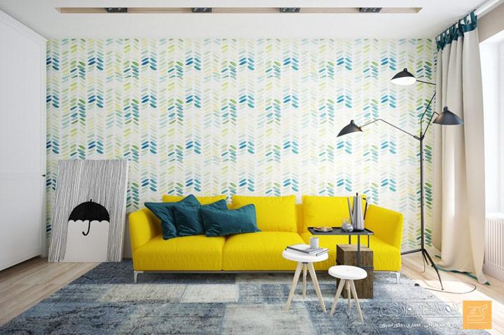 Cojines verdes para decoración de sofá amarillo