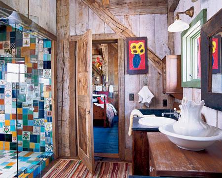Baño rústico de madera vintage