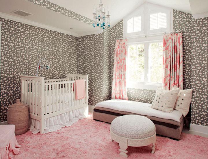 Alfombra rosa para dormitorio de bebé
