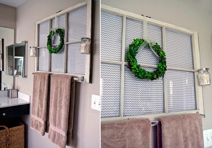 Hacer un colgador de toallas reciclado con una ventana