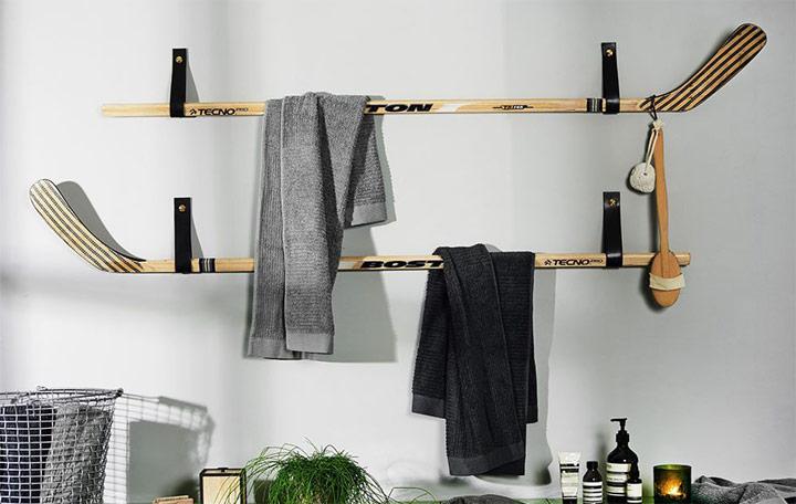 Bricolaje toallero DIY con palos de hockey