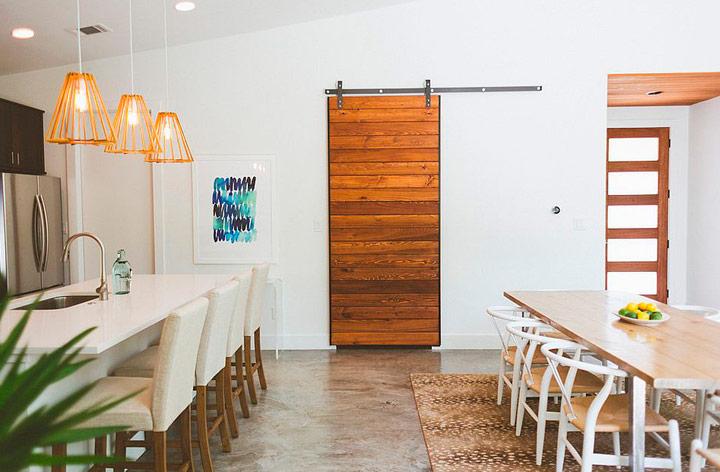 Puerta deslizantes rústica para el salón comedor