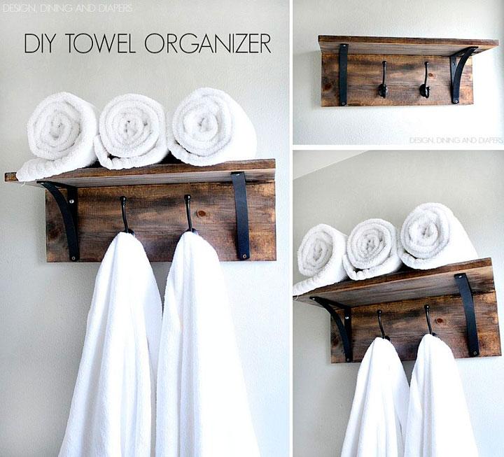 10 toalleros diy originales para un ba o de bajo presupuesto - Toalleros de madera para bano ...