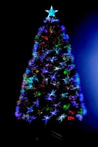 Árbol de Navidad artificial con luces de fibra óptica multicolor