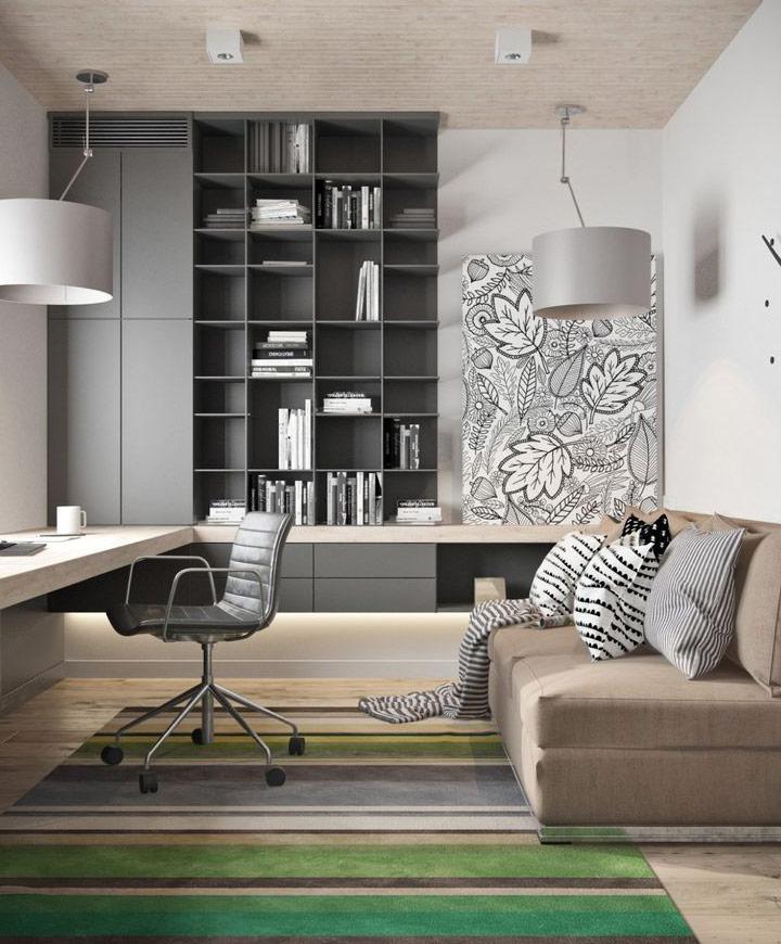 decorar oficina en casa con alfombras y cojines