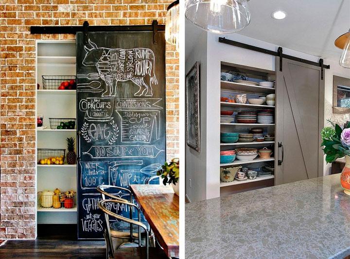 Despensas en las paredes para cocinas pequeñas