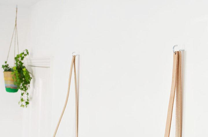 Colgar estante colgante con correas de cuero