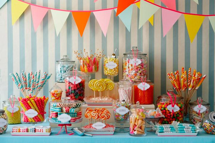Ideas de mesas con chuches para celebrar cumuniones y cumpleaños