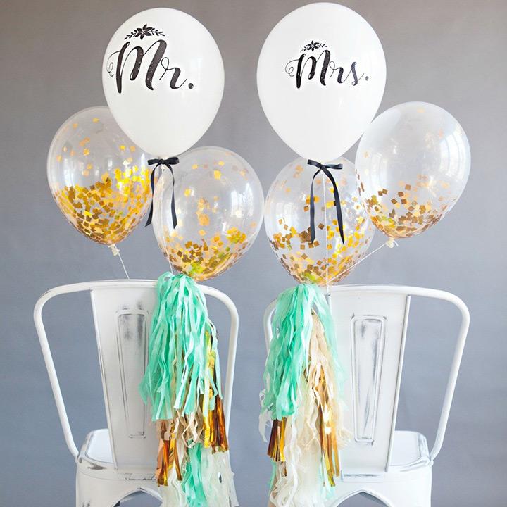 Decoración con globos en una boda