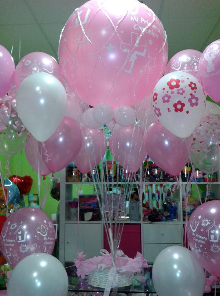 Decorar con globos comunión de niña