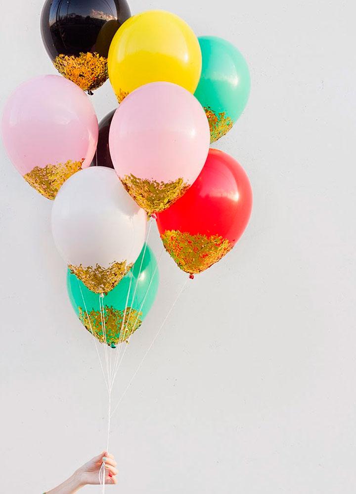Adornar con globos y purpurina una boda