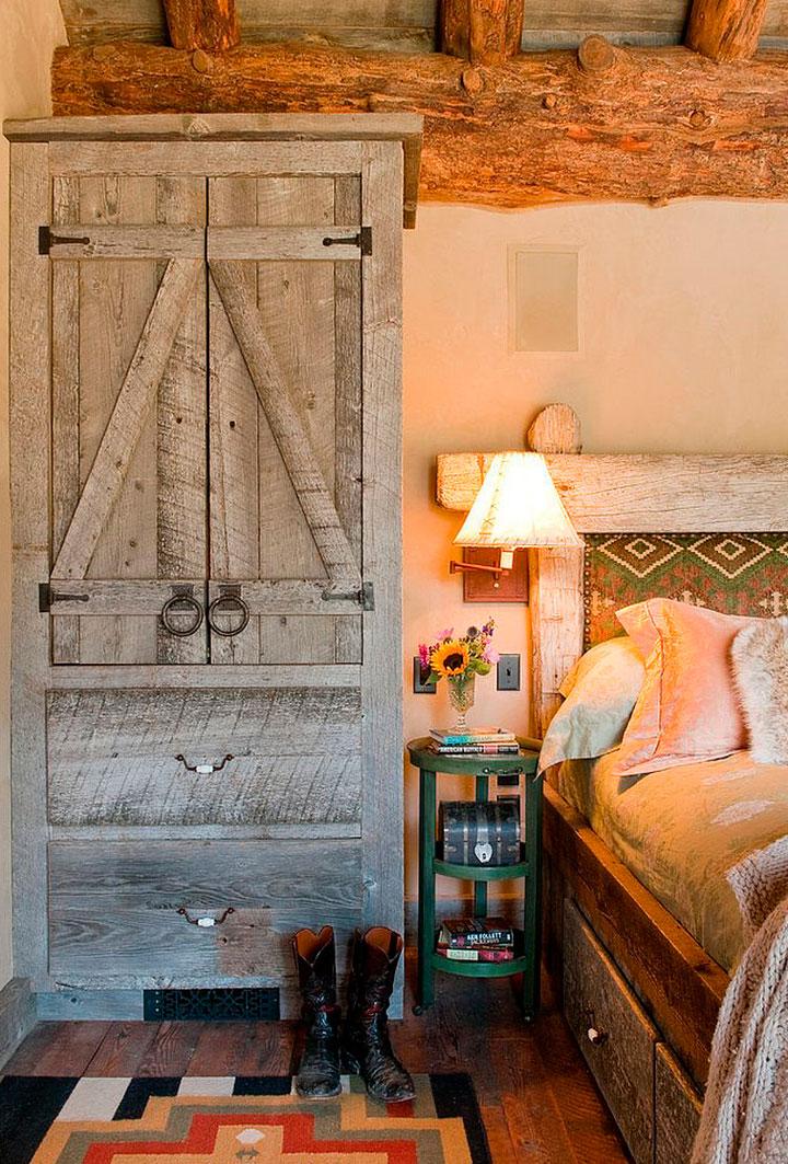 Mesilla de noche de metal para dormitorio rústico