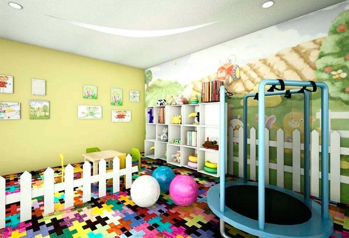 Sala de juegos para niños en un garaje