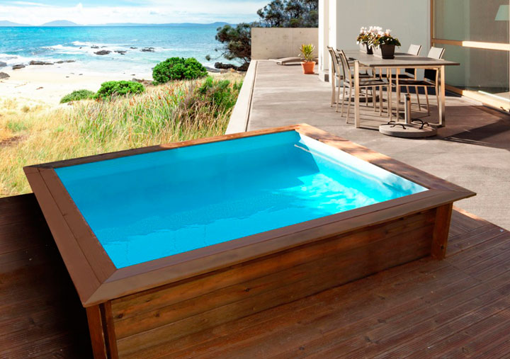 Pequeñas piscinas prefabricadas sobre tierra