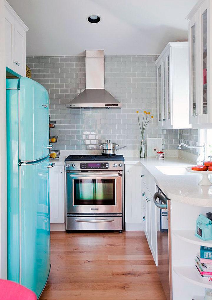 Cocinas eclécticas pequeñas electrodomésticos vintage