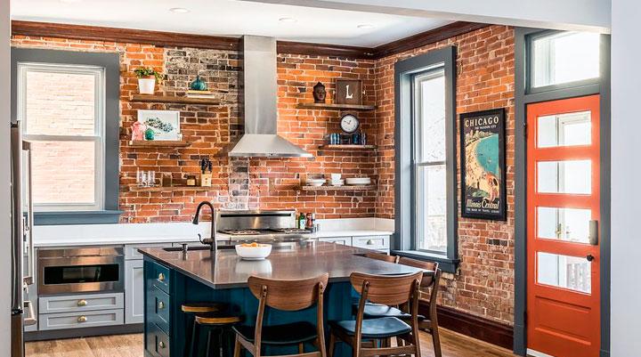 Cocinas de estilo ecléctico vintage moderno