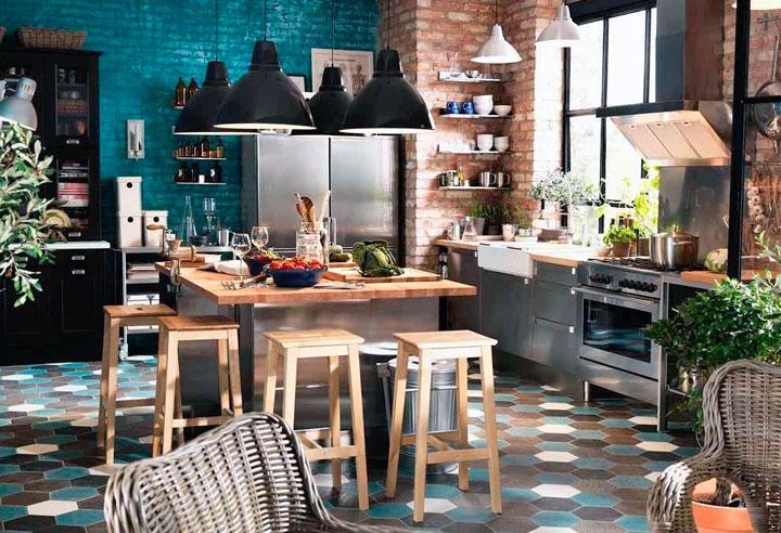 Decoración ecléctica en una cocina moderna