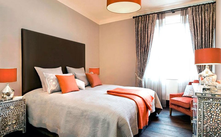 Decoración ecléctica de dormitorios en color naranja