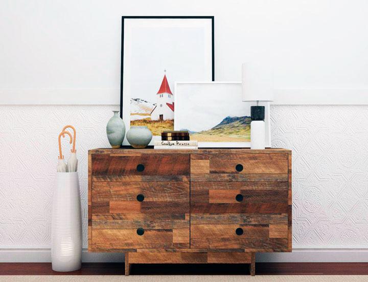 Decoración de recibidores eclécticos minimalistas con una mesa